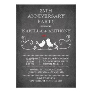 Vintage Chalkboard Love Birds Anniversary Party Cards