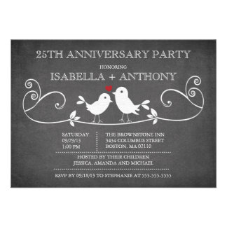 Vintage Chalkboard Love Birds Anniversary Party Personalized Invite