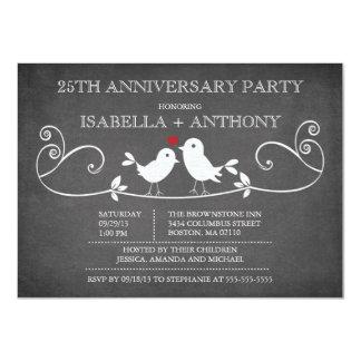 Vintage Chalkboard Love Birds Anniversary Party Invitation