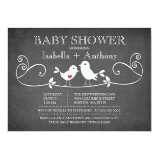 Vintage Chalkboard Love Birds Baby Shower Card
