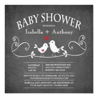 Vintage Chalkboard Love Birds Baby Shower Personalized Announcements