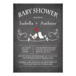 Vintage Chalkboard Love Birds Baby Shower Announcements