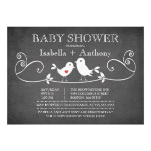 Vintage Chalkboard Love Birds Baby Shower Custom Invites