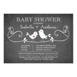 Vintage Chalkboard Love Birds Baby Shower 5x7 Paper Invitation Card