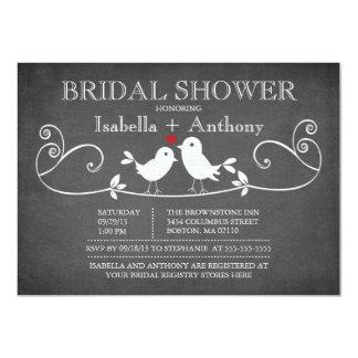 Vintage Chalkboard Love Birds Bridal Shower Card