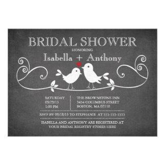 Vintage Chalkboard Love Birds Bridal Shower Custom Invites