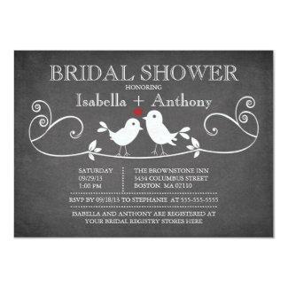 Vintage Chalkboard Love Birds Bridal Shower 4.5x6.25 Paper Invitation Card
