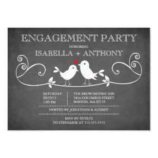 Vintage Chalkboard Love Birds ENGAGEMENT Party Card