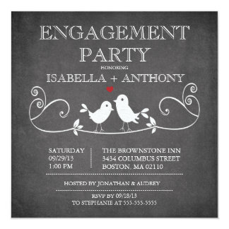 Vintage Chalkboard Love Birds ENGAGEMENT Party Custom Invitations
