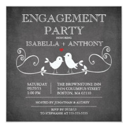 Vintage Chalkboard Love Birds ENGAGEMENT Party Invitation
