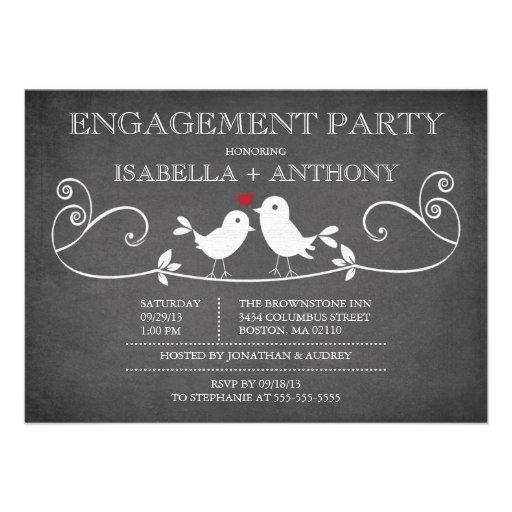 Vintage Chalkboard Love Birds ENGAGEMENT Party Custom Invitations