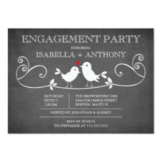 "Vintage Chalkboard Love Birds ENGAGEMENT Party 4.5"" X 6.25"" Invitation Card"
