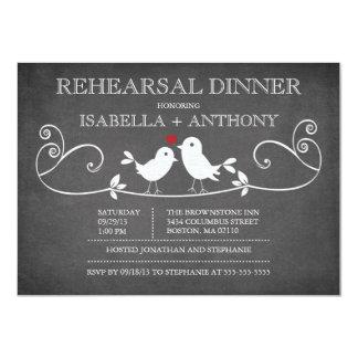 Vintage Chalkboard Love Birds Rehearsal Dinner Card