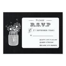 Vintage Chalkboard Mason Jar floral rsvp 3.5 x 5 Card