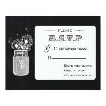 Vintage Chalkboard Mason Jar floral  rsvp Card