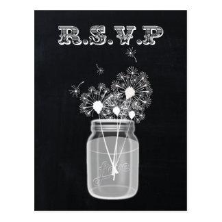 Vintage Chalkboard Mason Jar floral rsvp Post Card