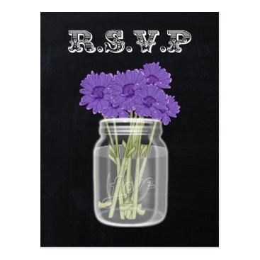Vintage Chalkboard Mason Jar floral rsvp Postcard
