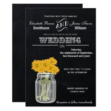 Vintage Chalkboard Mason Jar floral wedding Card