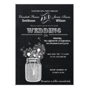 Chalkboard dandelions mason jar wedding invites by mgdezigns