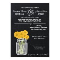 Vintage Chalkboard Mason Jar floral wedding invite