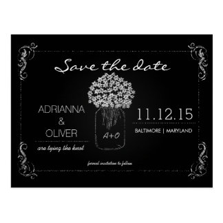 Vintage Chalkboard MasonJar Flowers Save The Date Post Cards