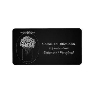 Vintage Chalkboard MasonJar Flowers Wedding Address Label