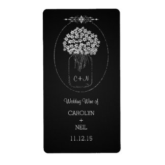 Vintage Chalkboard MasonJar Flowers Wedding Wine Shipping Label