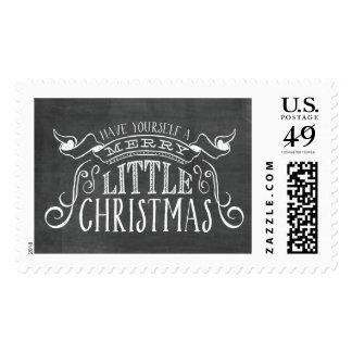 Vintage Chalkboard Merry Little Christmas Stamp