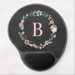 "Vintage Chalkboard Monogram Floral Wreath Gel Mouse Pad<br><div class=""desc"">Personalize this floral wreath design with your monogram,  initial or any text of your choice.</div>"