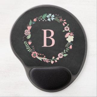 Vintage Chalkboard Monogram Floral Wreath Gel Mouse Pad