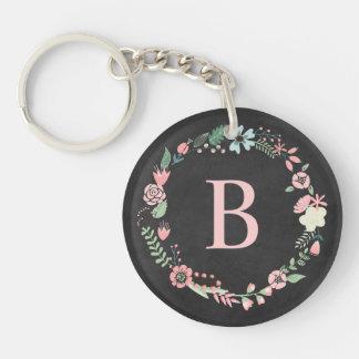 Vintage Chalkboard Monogram Floral Wreath Single-Sided Round Acrylic Keychain