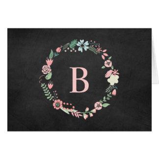 Vintage Chalkboard Monogrammed Floral Wreath Card