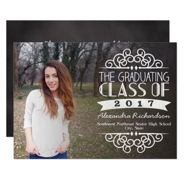 Vintage Chalkboard Overlay 2017 Photo Graduation Card