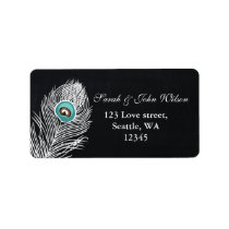 Vintage Chalkboard peacock address label