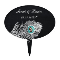 Vintage Chalkboard peacock personalized cake picks