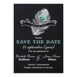 Vintage Chalkboard peacock save the date 5x7 Paper Invitation Card