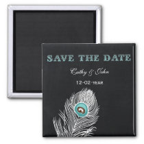 Vintage Chalkboard peacock save the Date Magnet