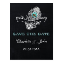 Vintage Chalkboard peacock  save the Date Postcard