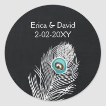 Vintage Chalkboard peacock  wedding favor stickers
