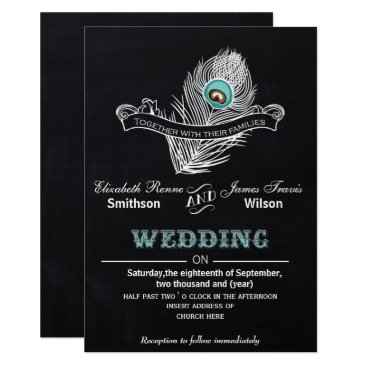 Vintage Chalkboard peacock wedding invite