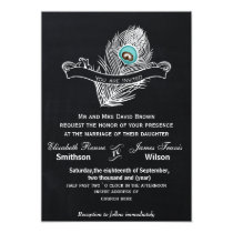 Vintage Chalkboard peacock wedding invite