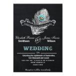 "Vintage Chalkboard peacock wedding invite 5"" X 7"" Invitation Card"