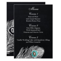 Vintage Chalkboard peacock wedding menu cards