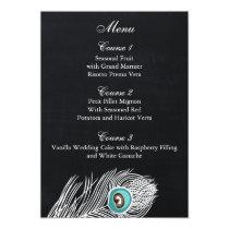 Vintage Chalkboard peacock wedding menu cards