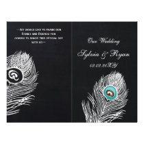 Vintage Chalkboard peacock wedding programs folded