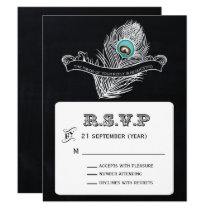 Vintage Chalkboard peacock wedding  rsvp Card