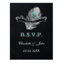Vintage Chalkboard peacock wedding rsvp Postcard