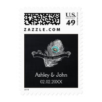 Vintage Chalkboard peacock wedding stamps