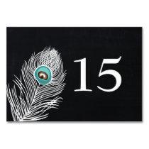 Vintage Chalkboard peacock wedding table numbers Card