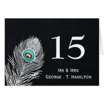 Vintage Chalkboard peacock wedding table numbers Card